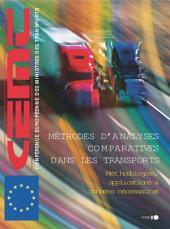 Méthodes d'analyses comparatives dans les transports Méthodologies, applications et données nécessaires: Méthodologies, applications et données nécessaires