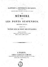 Rapport à Becquey et mémoire sur les ponts suspendus