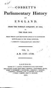 Cobbett's Parliamentary History of England: 1737-1739, Volume 10