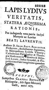 Lydius veritatis statera acquisima rationis