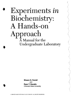 Experiments in Biochemistry PDF