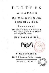 Lettres a Madame de Maintenon