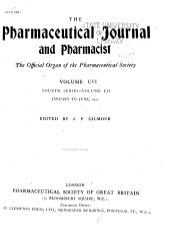 The Pharmaceutical Journal and Pharmacist: Volume 106