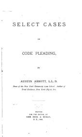 Select Cases on Code Pleading: Volume 1