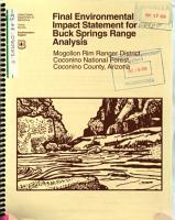Coconino National Forest  N F    Buck Springs Range Analysis PDF