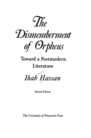 The Dismemberment of Orpheus PDF