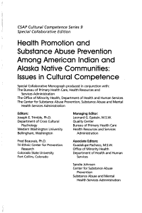 Health Promotion and Substance Abuse Prevention Among American Indian and Alaska Native Communities