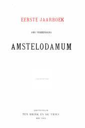 Jaarboek van het Genootschap Amstelodamum: Volumes 1-4