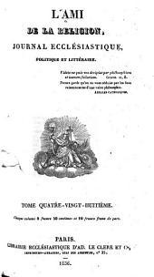 L'Ami de la religion: journal ecclésiastique, politique et littéraire ..., Volume88