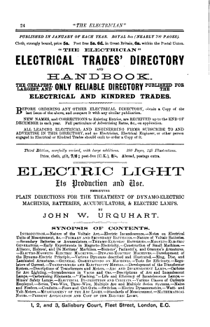 The Electrician  Electrical Trades  Directory and Handbook for 1890  1895  1899