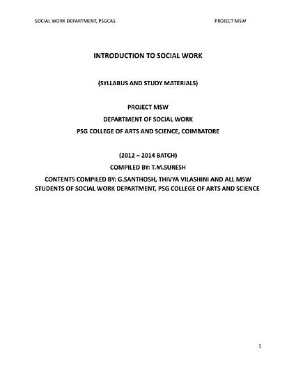 Introduction To Social Work PDF