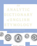 An Analytic Dictionary of English Etymology PDF