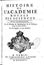 Histoire de l'Académie royale des sciences ... avec les mémoires de mathématique et de physique pour la même année