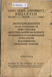 Ohio State University Bulletin: Volume 26, Issue 17; Volume 27, Issue 18