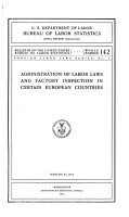 Administration of Labor Laws and Factory Inspection in Certain European Countries PDF