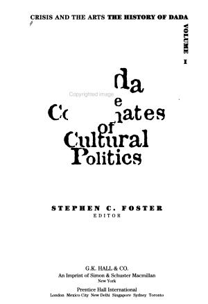 Crisis and the Arts  Dada  the coordinates of cultural politics PDF