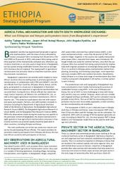Agricultural mechanization and south-south knowledge exchange: What can Ethiopian and Kenyan policymakers learn from Bangladesh's experience?
