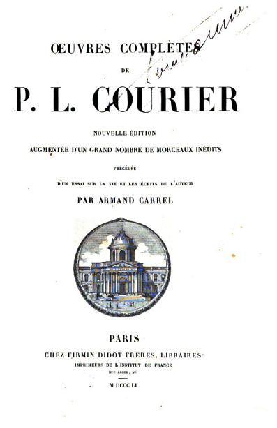 Download OEUVRES COMPLETES DE P L  COURIER  Book