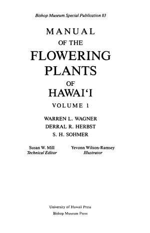 Manual of the Flowering Plants of Hawaii