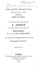 Urbis et orbis. Repositionis nominis S. Joseph in litaniis majoribus discursus, etc. [By Pope Benedict XIV. The editor's preface signed: A. C., i.e. A. E. A. Carion?]