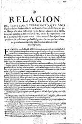 Relacion del temblor, y terromoto que Dios Nuestro Señor fue servido de embiar à la ciudad del Cuzco à 31. de Março ... 1650, etc
