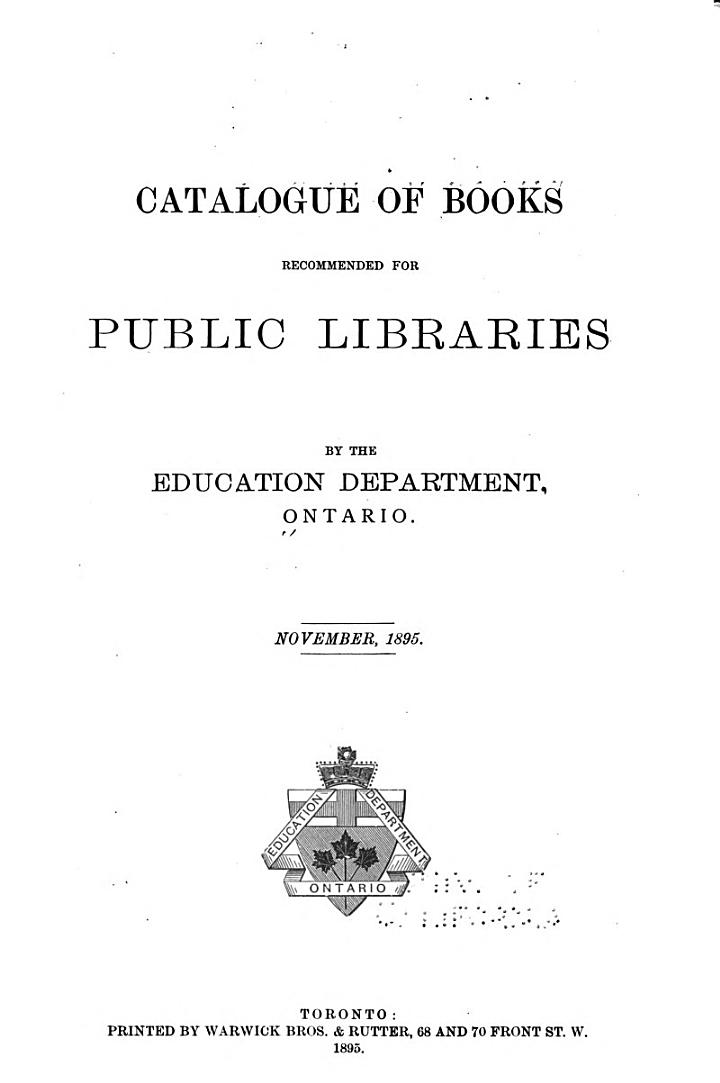 Catalogue of Books Recommended for Public Libraries