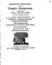 Diss. philol. de templis, antiquorum
