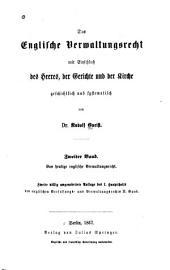 Bd. Das heutige englische Verwaltungsrecht