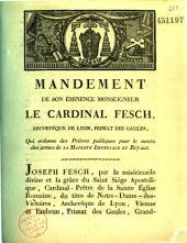 Mandement qui ordonne des prières pour le succès des armées françaises