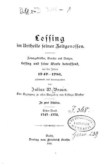Lessing im urtheile seiner zeitgenossen  Bd  1747 1772 PDF