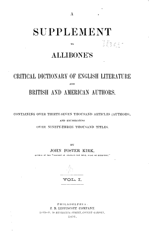 A Supplement to Allibone s Critical Dictionary of English Literature and British and American Authors PDF