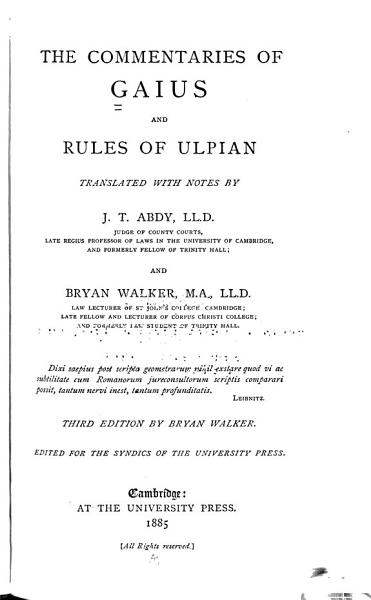Download The Commentaries of Gaius and Rules of Ulpian Book