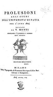 Prolusioni agli studj dell'Università di Pavia per l'anno 1804, etc