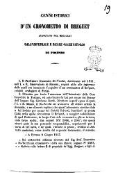 Cenni storici d'un cronometro di Bréguet acquistato nel 1813. dall'imperiale e reale osservatorio di Firenze [Domenico De-Vecchi]