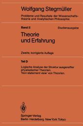 Logische Analyse der Struktur ausgereifter physikalischer Theorien 'Non-statement view' von Theorien: Ausgabe 2