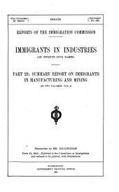 Immigrants in Industries: (In Twenty-five Parts).