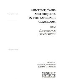 Content  Tasks and Projects in the Language Classroom PDF