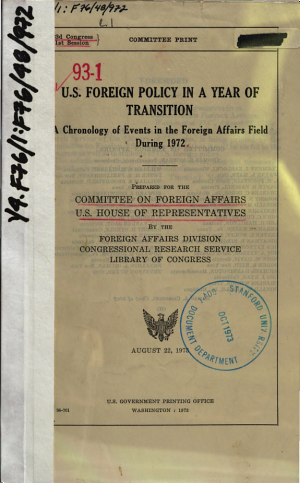 U.S. Foreign Policy in a Year of Transition
