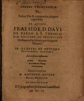 Theses theol. de federe Dei et coniunctis aliquot capitibus