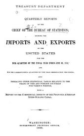 Quarterly Reports of the Chief of the Bureau of Statistics Showing the Imports and Exports of the United States
