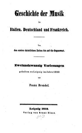 Geschichte der Musik in Italien  Deutschland und Frankreich PDF