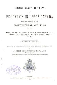 Documentary History of Education in Upper Canada PDF