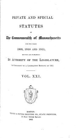 Private and Special Statutes of the Commonwealth of Massachusetts PDF