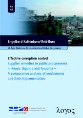 Effective corruption control: Supplier remedies in public procurement in Kenya, Uganda and Tanzania - A comparative analysis of mechanisms and their implementation