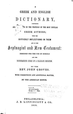 A Greek and English Dictionary PDF