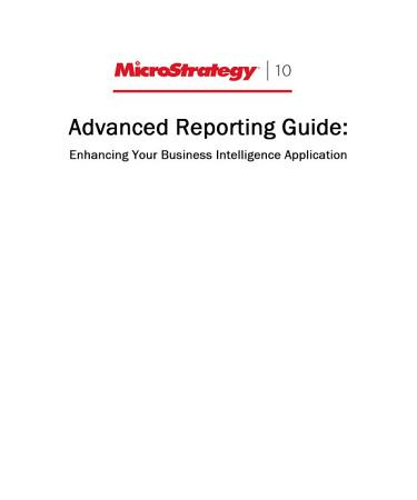 Advanced Reporting Guide for MicroStrategy 10 PDF