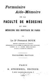 Formulaire aide-memoire de la faculte de medecine