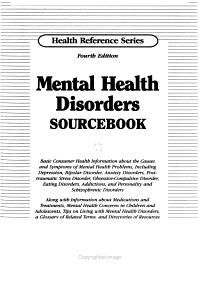 Mental Health Disorders Sourcebook PDF