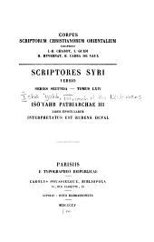 Išo ʻyahb Patriarchae III Liber epistularum: Volume 12