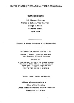 Mushrooms  Report to the President on Investigation No  TA 201 43  Under Section 201 of the Trade Act of 1974 PDF